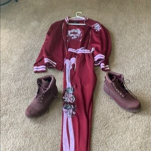 Timberland boots and Eternity XL sweat suit